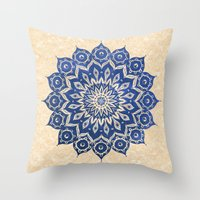 blue Throw Pillows featuring ókshirahm sky mandala by Peter Patrick Barreda