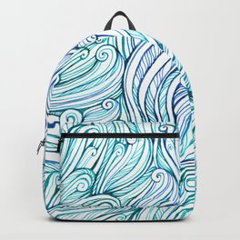 pattern of blue curls, waves, watercolor ink drawing Backpack