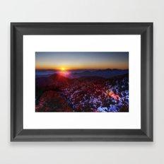 Sunset Mountains #fog Framed Art Print