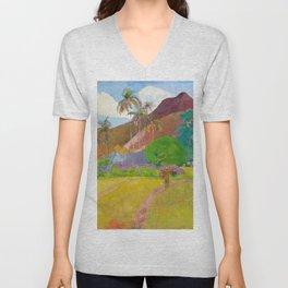 Tahitian Landscape by Paul Gauguin Unisex V-Neck