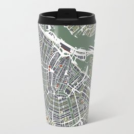 Amsterdam city map engraving Travel Mug