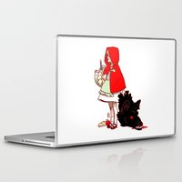 red hood Laptop & iPad Skins featuring Little Red Hood by Madeoftin