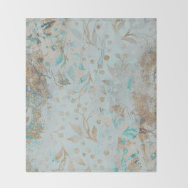 Pastel Botanical Watercolor Pattern Teal Gold Glitter Throw Blanket
