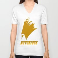 notorious V-neck T-shirts featuring NOTORIOUS by Robleedesigns