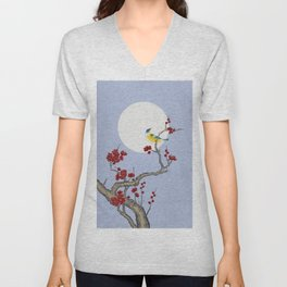 Plum blossoms, bird, and the moon Type F (Minhwa: Korean traditional/folk art) Unisex V-Neck
