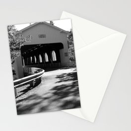 Covered Bridge in Black and White Stationery Cards