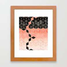 Black And Coral Cubes Framed Art Print