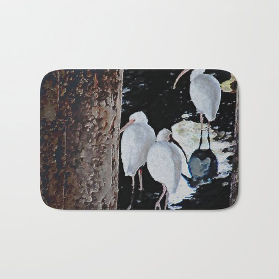 Ibises Under a Bridge (revamped) Bath Mat