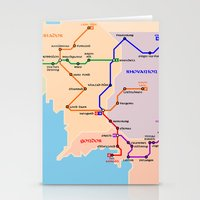 middle earth Stationery Cards featuring Middle-Earth metro map by tuditees