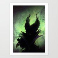 maleficent Art Prints featuring Maleficent by Arnaud de Vallois