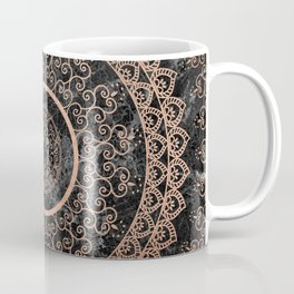 Mandala - rose gold and black marble Coffee Mug