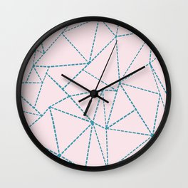 Ab Dotted Lines Blue on Pink Wall Clock