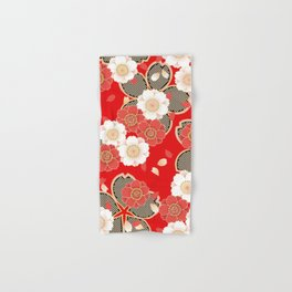 Japanese Vintage Red Black White Floral Kimono Pattern Hand & Bath Towel