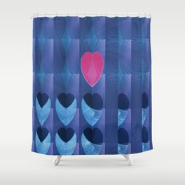 Fractal Art- Heart Art- Pink Heart- Blue Heart-U Know It- Childrens Art-Love Shower Curtain