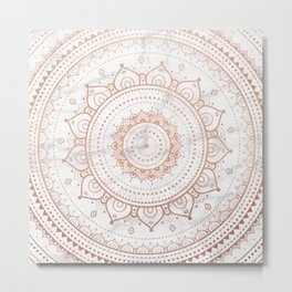 Mandala - rose gold and white marble Metal Print