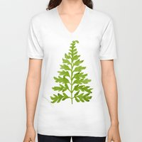 lime V-neck T-shirts featuring Lime Fern by Cat Coquillette