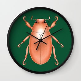 Copper Beetle on Green Background Wall Clock