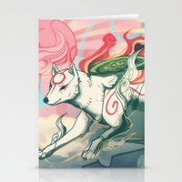 okami Stationery Cards featuring Okami Amaterasu by Owlapin