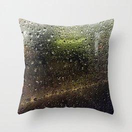 Rainy Morning Commute Throw Pillow