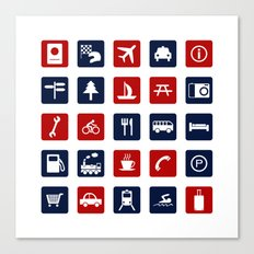 Travel Icons in RWB Canvas Print