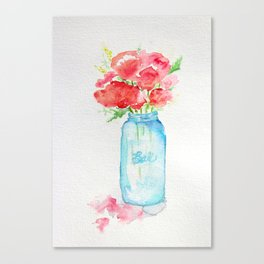 Ball Jar - Watercolor  Canvas Print