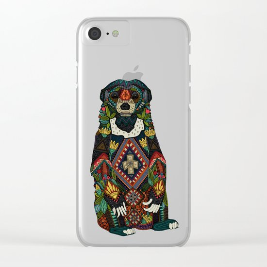 sun bear almond Clear iPhone Case