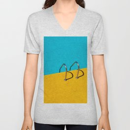 yellow blue pool Unisex V-Neck