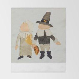 Thanksgiving Pilgrim Toddler Girl and Boy Couple Throw Blanket