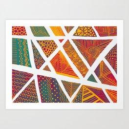 Geometric doodle pattern - multicolor Art Print