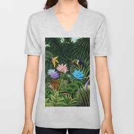 Classical Masterpiece 'Tropical Birds and Flying Things' by Henry Rousseau Unisex V-Neck