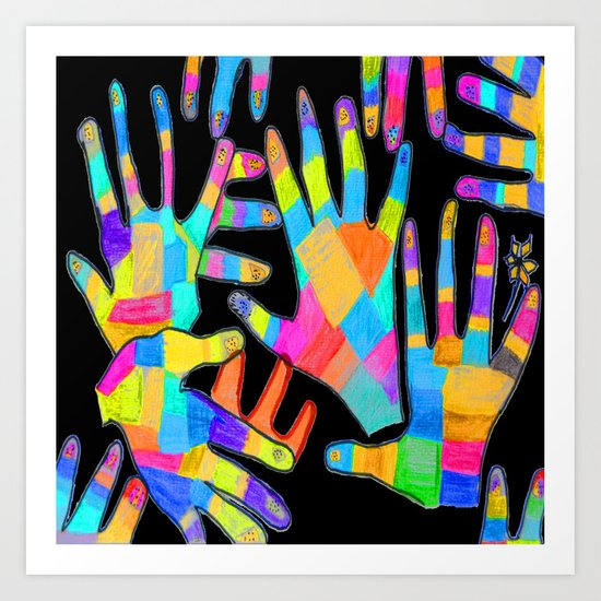 Hands of colors | Hands of light Art Print