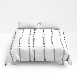 black and white dots and dashes boho modern Comforters