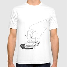 Driving home MEDIUM White Mens Fitted Tee