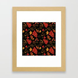 Traditional russian khokhloma print with berries and floral motives Framed Art Print