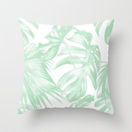 Light Green Tropical Palm Leaves Print Throw Pillow