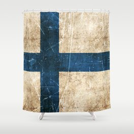 Vintage Aged and Scratched Finnish Flag Shower Curtain