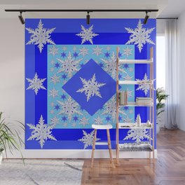 DECORATIVE BABY BLUE SNOW CRYSTALS BLUE WINTER ART Wall Mural