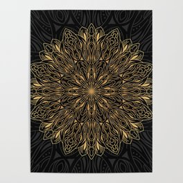 MANDALA IN BLACK AND GOLD Poster