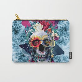 Floral Skull Blue Carry-All Pouch