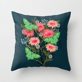 Luna Moth Florals by Andrea Lauren  Throw Pillow