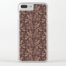 Deep Brown Woven Heart Stripes, Elegant Love Clear iPhone Case