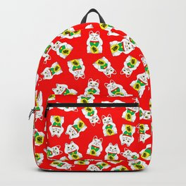 Three Wise Lucky Cats on Red Backpack