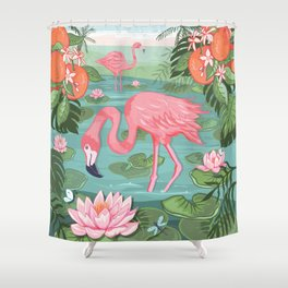 Flamingo and Waterlily Shower Curtain