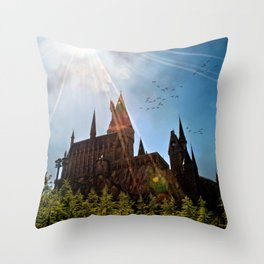 Flare over Hogwarts Throw Pillow
