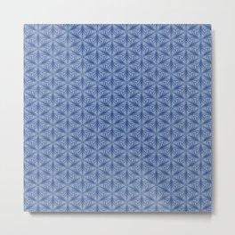 Original Handmade Pattern - Blue Tropical Leaves Metal Print