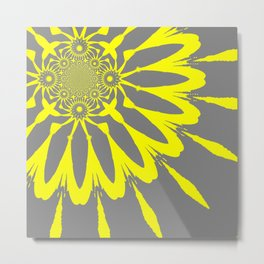 The Modern Flower Gray and Yellow Metal Print