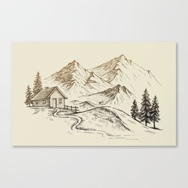 Vector of Mountain Landscape Canvas Print