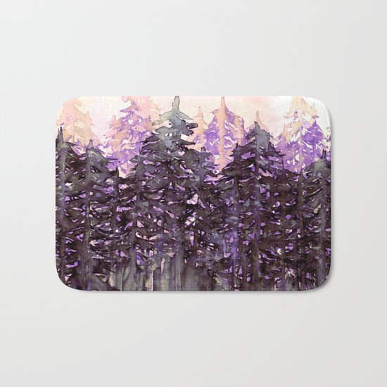 NORTHWEST VIBES Colorful Watercolor Painting Forest Trees Violet Green Modern Nature Art West Coast  Bath Mat