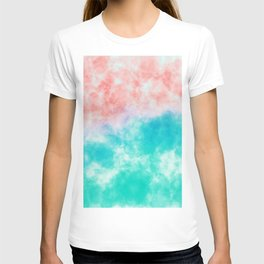 Orange and green watercolor effect T-shirt
