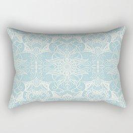 Floral Pattern in Duck Egg Blue & Cream Rectangular Pillow